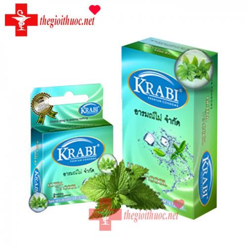 Bao cao su Krabi siêu mỏng hương bạc hà